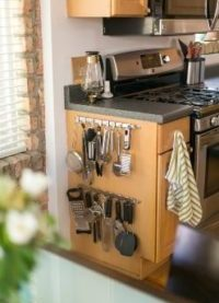 using bare sides of the kitchen cabinets