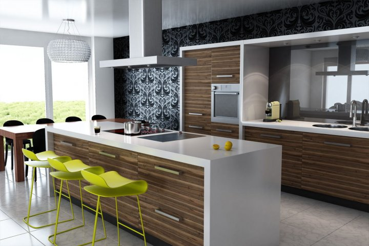 Island-shaped kitchen